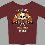 Wild West Theme Tee Shirt with Hat and Gun Graphic Stock Photos