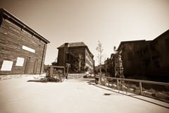 Wild west town. Wide angle vintage photo of Wild west town Stock Image