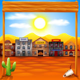 Wild west town panorama vector background Stock Photography