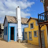 Wild west town. Street with smal houses in wild west town stock image
