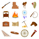 Wild west 16 vector icons set in cartoon style. Wild west 16 vector icon set in cartoon style for web design Stock Image