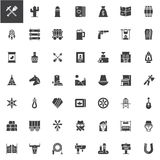 Wild west vector icons set. Modern solid symbol collection, filled style pictogram pack. Signs, logo illustration. Set includes icons as dreamcatcher, cowboy Royalty Free Stock Images