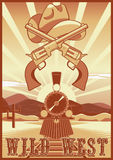 Wild west vintage card or poster with desert landscape, train, guns and hat. Stock Image