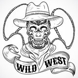 Wild west. Vintage poster with scull cowboy, lasso and ribbon banner Stock Photography