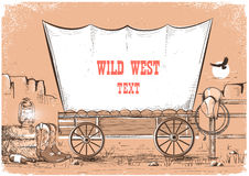 Wild west wagon background for text. Royalty Free Stock Photos