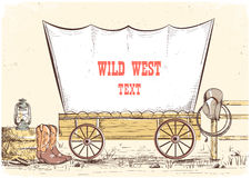 Wild west wagon.Vector cowboy illustration background for text Royalty Free Stock Images