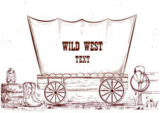 Wild west wagon.Vector illustration background for text Royalty Free Stock Images