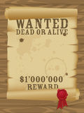 Wild west wanted poster Royalty Free Stock Photo