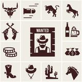 Wild West wanted poster and associated icons. Of crossed guns  a snorting bull  rearing bull  horse  mustang  bullet  beer for a saloon  money  cowboy boot Stock Images