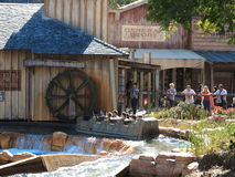 Log flume ride wild west scenery stock images