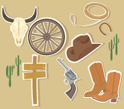 Wild West Western Elements. Set of cowboy Wild West Western themed icons Stock Images