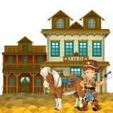 The wild west - western - Frame - border - template - illustration for the children Stock Photos