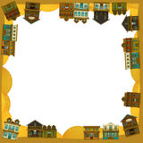 The wild west - western - Frame - border - template - illustration for the children. The happy and colorful illustration for the children Royalty Free Stock Photos