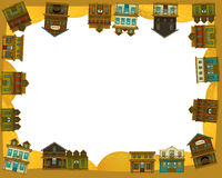 The wild west - western - Frame - border - template - illustration for the children. The happy and colorful illustration for the children Stock Images