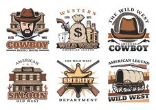 Western Wild West cowboy, saloon and gun icons. Wild West or western vector icons with cowboy or sheriff. Knives and sack of money, whiskey and revolver, play royalty free illustration