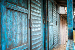 Wild west wooden buildings. Wild west blue, wooden buildings, Colorado, USA Stock Image