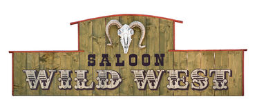 Wild west wooden saloon signboard with sheep skull Stock Image