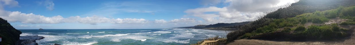 Wild white west waves panoramic. Waves crashing on rocks panoramic Stock Photos