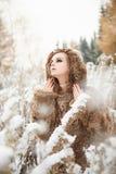 Wild winter woman in fur Stock Image