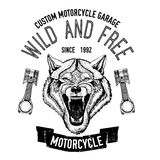 Wild wolf Vector image for motorcycle t-shirt, tattoo, motorcycle club, motorcycle logo royalty free illustration
