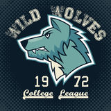 Wild wolves sports mascot. College league t-shirt graphic Stock Image