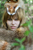Wild woman, female. Wild woman in the forest Royalty Free Stock Photo