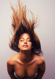 Wild woman throwing hair Royalty Free Stock Images