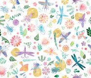Wild World in Watercolor Seamless Pattern Stock Images