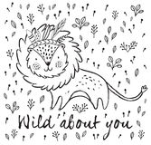Wild about you. Cute lion cartoon vector illustration. Cartoon character fun lion. Black and white vector illustration. Funny cartoon lion vector print with text Stock Photos