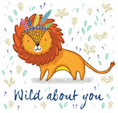 Wild about you. Cute lion cartoon vector illustration Stock Images
