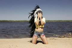 Wild young woman Stock Photography