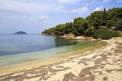 Wild zandig strand in de baai van het Egeïsche Overzees Stock Foto's