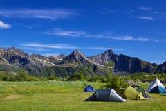 Wildcamping sulle isole di Lofoten Fotografia Stock