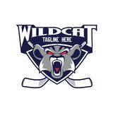 Wildcat head vector for Hockey logo vector illustration