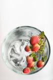 Wilde bessen in leeg glas, hoogste mening Stock Fotografie