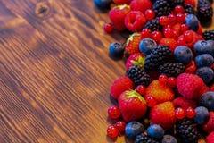 Wilde bessenmengeling - aardbeien, frambozen, braambessen, bosbessen en bessen Royalty-vrije Stock Afbeeldingen