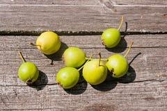 Wilde Birnenfrucht auf dem hölzernen Hintergrund der Weinlese Stockfoto