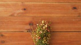 Wilde Blaubeere in den Herbstfarben auf Holztisch stock video