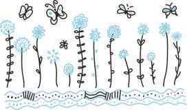 Wilde bloemen en Vlinders Stock Foto's