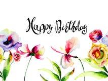 Wilde bloemen met titel Gelukkige Verjaardag Stock Afbeeldingen