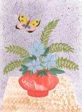 Wilde Blumen des Aquarells im Vase mit Schmetterling vektor abbildung
