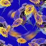 Wilde Blumen des nahtlosen Musteraquarells mit grellem Glanz auf dem blauen Hintergrund Stockfotografie