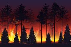 Wilde brand in de nacht bos natuurramp wildfire Zwarte silhouetbomen op brand realistische vectorillustratie vector illustratie