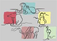 Wilde dieren in één lijn Stock Foto's