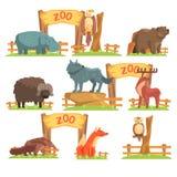 Wilde dieren achter de Omheining In Zoo Set Stock Afbeelding