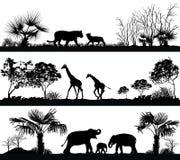 Wilde dieren (giraf, olifant, leeuw) royalty-vrije illustratie