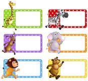Wilde dieren op vierkante markeringen Stock Afbeelding