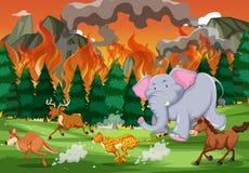 Wilde dieren vanaf wildfire in werking die worden gesteld die stock illustratie