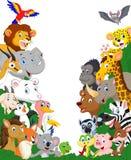 Wilde dierlijke beeldverhaalachtergrond royalty-vrije illustratie