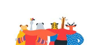 Wilde dierlijke vriendenomhelzing samen op geïsoleerde banner royalty-vrije illustratie